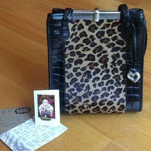 Brighton leopard haircalf & leather handbag.